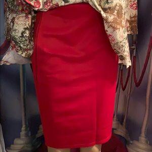 New Red Straight skirt elastic waist s, med